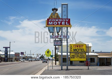 Amarillo Texas - July 8 2014: The old Cowboy Motel along the historic Route 66 in the Amarillo Texas USA.