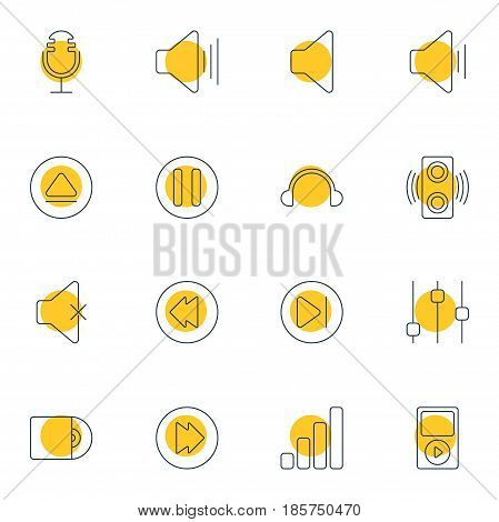 Vector Illustration Of 16 Melody Icons. Editable Pack Of Reversing, Acoustic, Mp3 And Other Elements.