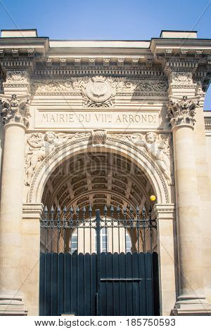 Ornate archway in the city of  Paris France