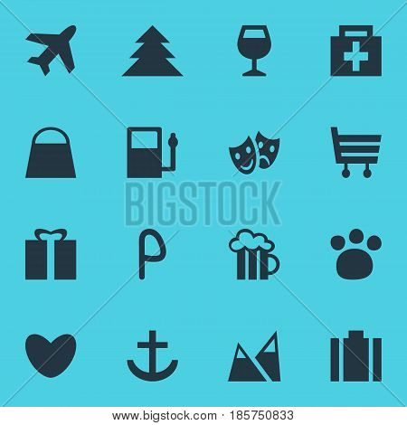 Vector Illustration Of 16 Location Icons. Editable Pack Of Present, Car Park, Pet Shop And Other Elements.
