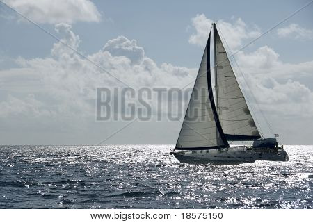A sailboat in the Caribbean.