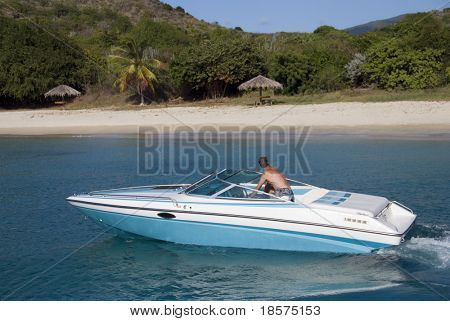 A speedboat in the Caribbean.