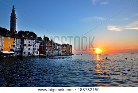 Coastal town of Rovinj and the Adriatic sea in sunset. Istria Croatia