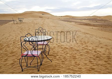 Table And Seat In   Yellow Sand