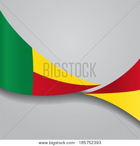 Benin flag wavy abstract background. Vector illustration.