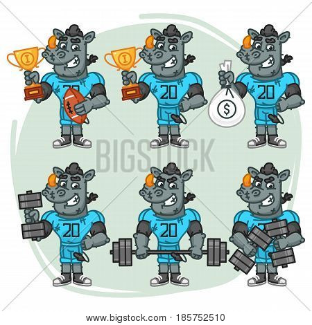 Character Set Rhino Football Player Holds Cup Money Dumbbell