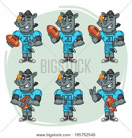 Character Set Rhino Football Player Holds Rectangular Ball
