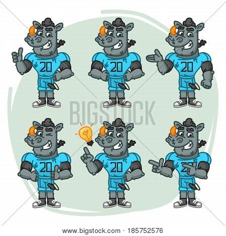 Character Set Rhino Football Player Shows And Points