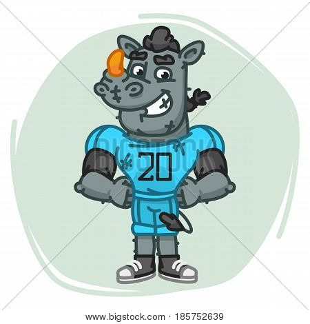Rhino Football Player Holding Hands On Waist