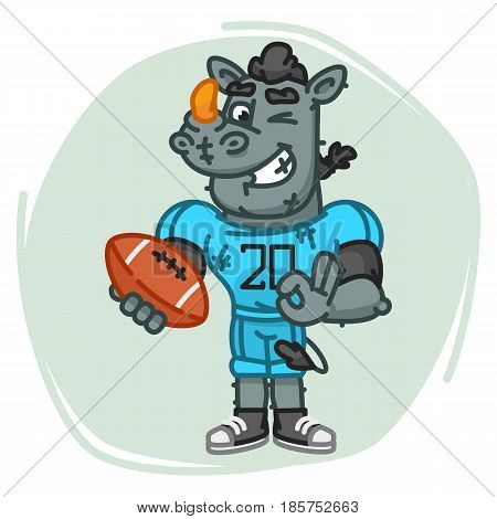 Rhino Football Player Holds Ball And Shows Ok