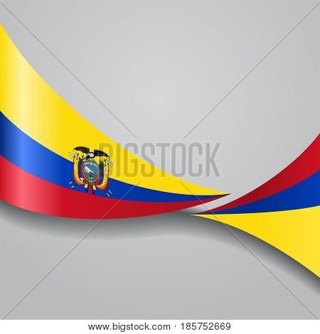 Ecuadorian flag wavy abstract background. Vector illustration.