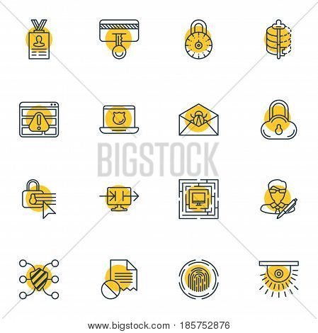 Vector Illustration Of 16 Protection Icons. Editable Pack Of Safe Storage, Data Error, Finger Identifier And Other Elements.