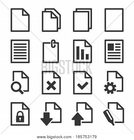 Document Icons Set on White Background. Vector
