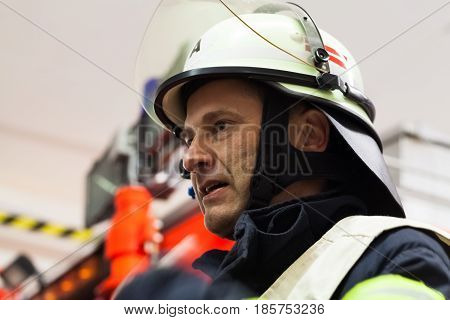 Hamburg, Germany - April 18, 2013: Hdr - Firefighter Chief Observed The Fire Service