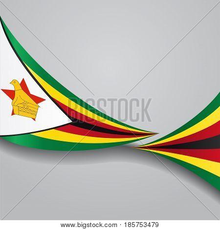 Zimbabwe flag wavy abstract background. Vector illustration.