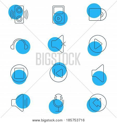 Vector Illustration Of 12 Music Icons. Editable Pack Of Mp3, Start, Soundless And Other Elements.