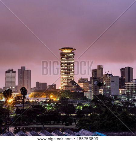 A dawn view of Nairobi's KICC building