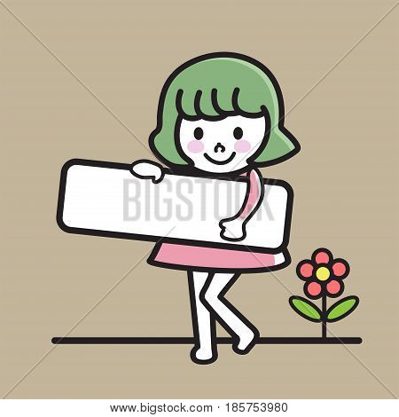 Happy girl holding blank paper, smiling girl holding an empty signage, vector illustration.