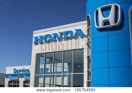 Indianapolis - Circa May 2017: Honda Motor Co. Logo and Sign. Honda Manufactures Among the Most Reliable Cars in the World VI