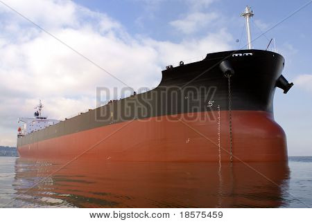 An empty freighter anchored off the west coast of North America.
