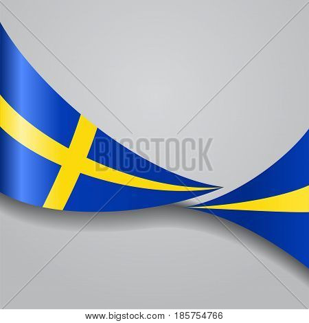 Swedish flag wavy abstract background. Vector illustration.