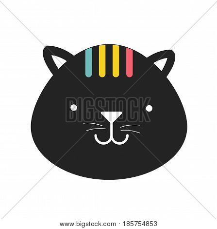 Cute cat cartoon vector. Print design.Vector stock.