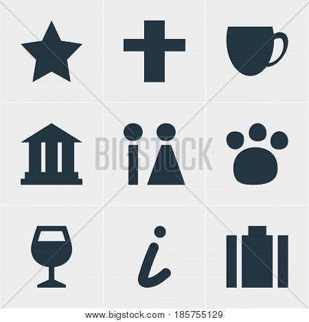 Vector Illustration Of 9 Check-In Icons. Editable Pack Of Wineglass, Cross, Toilet And Other Elements.