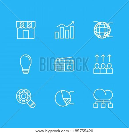 Vector Illustration Of 9 Ad Icons. Editable Pack Of Lamp, Shop, Analysis And Other Elements.