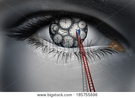 Internal clock and circadian rythm time concept as a human eye with time pieces with a person adjusting and organizing a thinking work schedule with 3D illustration elements.