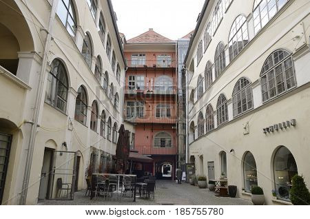 GRAZ, AUSTRIA - MARCH 19, 2017: Inner street in the Old Town of Graz the capital of federal state of Styria Austria.