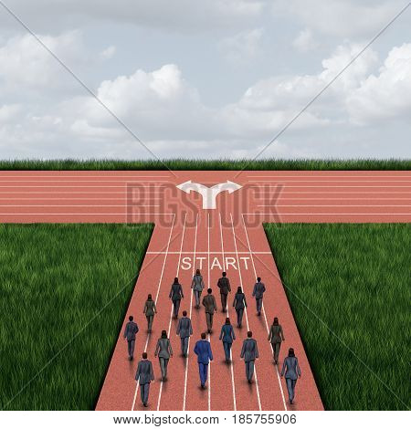 Company direction decision as a group of business people walking towards a crossroad with a confusing dilemma on deciding to go left or right as a financial or political influence symbol with 3D illustration elements.