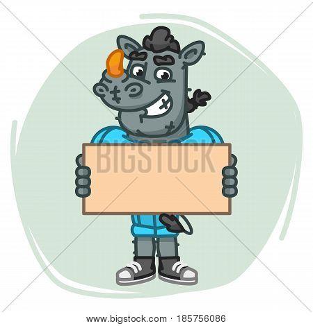 Rhino Football Player Holds Blank Sheet Paper