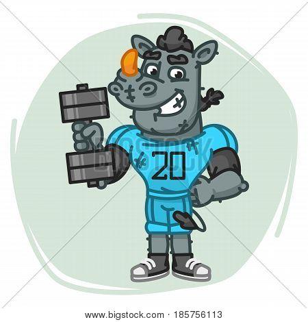 Rhino Football Player Holds Dumbbell