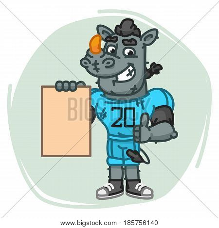 Rhino Football Player Holds Paper And Shows Thumbs Up