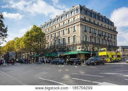 PARIS FRANCE - OCTOBER 11 2015: The building of La Grand Hotel in the historical centre of Paris the capital and most visited city of France