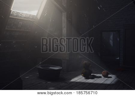 3d rendering of teddy bear sitting on the attic floor next to the leather ball in the light beam