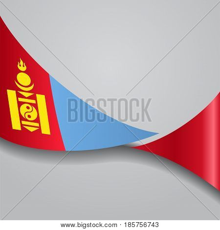 Mongolian flag wavy abstract background. Vector illustration.
