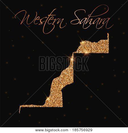 Western Sahara Map Filled With Golden Glitter. Luxurious Design Element, Vector Illustration.