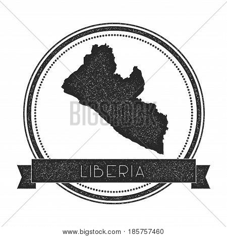 Retro Distressed Liberia Badge With Map. Hipster Round Rubber Stamp With Country Name Banner, Vector