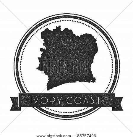 Retro Distressed Cote D'ivoire Badge With Map. Hipster Round Rubber Stamp With Country Name Banner,