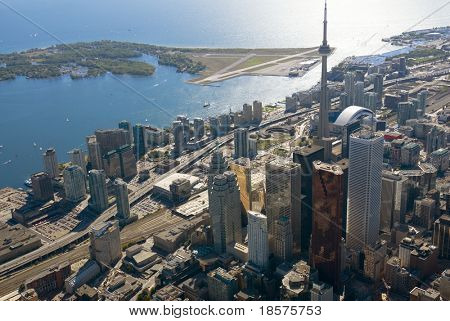 The towers of downtown Toronto, Canada, seen from just above Yonge Street.