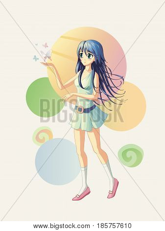 Vector illustration of the anime girl where the butterflies are fly near her hand. If it is need batterflies could be remove so the girls hand could be use as a pointer for any text or object