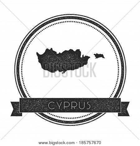 Retro Distressed Cyprus Badge With Map. Hipster Round Rubber Stamp With Country Name Banner, Vector