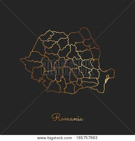 Romania Region Map: Golden Gradient Outline On Dark Background. Detailed Map Of Romania Regions. Vec