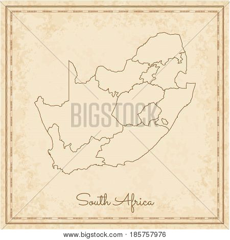 South Africa Region Map: Stilyzed Old Pirate Parchment Imitation. Detailed Map Of South Africa Regio