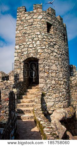 Stone staircase and look out in Sintra Portugal