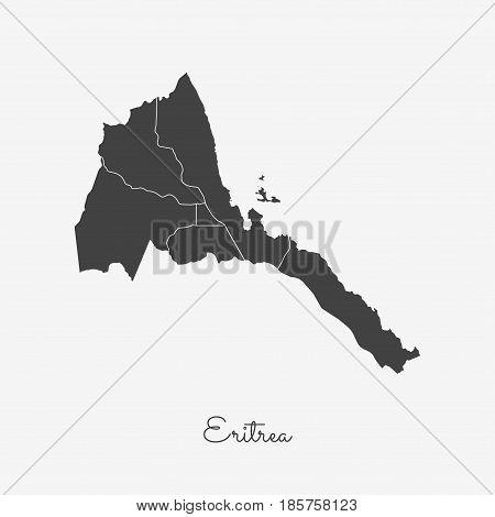 Eritrea Region Map: Grey Outline On White Background. Detailed Map Of Eritrea Regions. Vector Illust