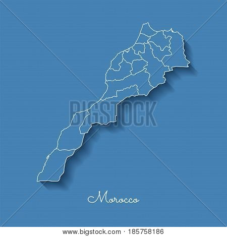 Morocco Region Map: Blue With White Outline And Shadow On Blue Background. Detailed Map Of Morocco R