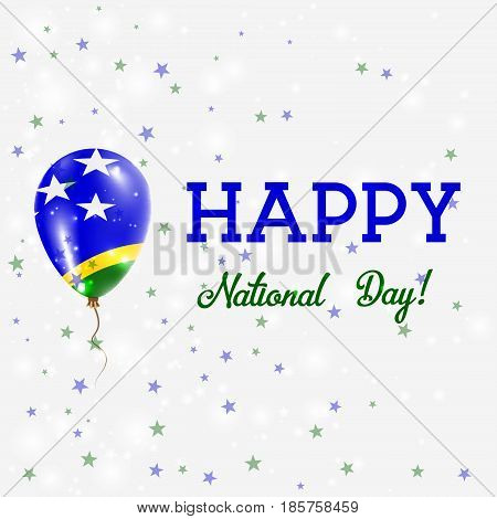 Solomon Islands National Day Patriotic Poster. Flying Rubber Balloon In Colors Of The Solomon Island