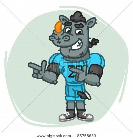 Rhino Football Player Indicates Two Fingers